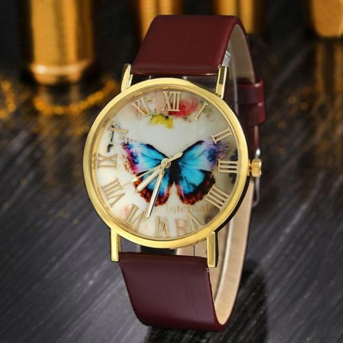 High Quality 3 Color Analog Quartz Watch Wrist Watch Dress Women Men Fashion Butterfly Leather Band Clock Hot Fashion Creative fashion split leather band quartz analog bracelet wrist watch for women black 1 x 377