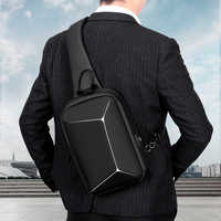 ROWE Fashion Stereoscopic antitheft Chest Bag Men Casual Shoulder Crossbody Bag USB Charging Waterproof Travel Messenger Bag