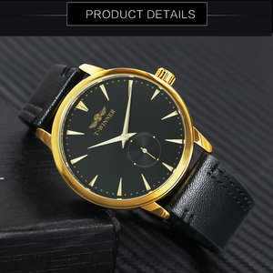 Image 3 - WINNER Official Fashion Casual Mechanical Watch Men Leather Strap Ultra Thin Dial Concise Golden Mens Watches Top Brand Luxury