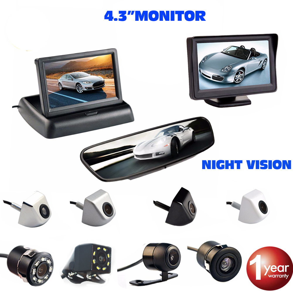 Viecar 4.3 Inch Car Monitor Reverse Rear View Backup Camera Auto Parking Assistance Waterproof Night Vision Parking System