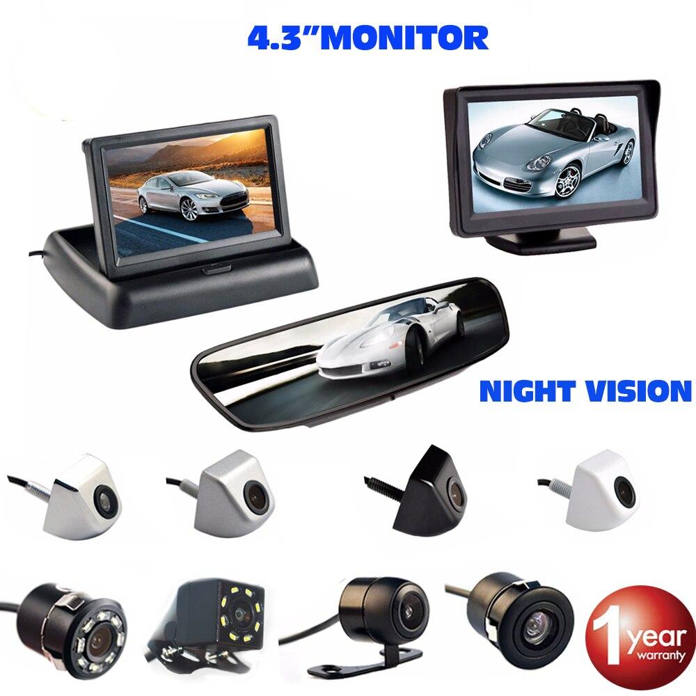 Viecar 4.3 pollice Monitor Dell'automobile Inversione di Retrovisione della Macchina Fotografica di Backup Auto di Assistenza Al Parcheggio di Visione Notturna Impermeabile Sistema di Parcheggio