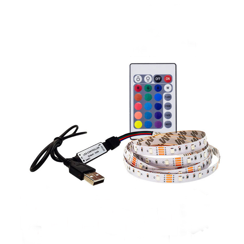 Led Strip 5V 1M 2M 3M 4M 5M 16 Color Change For TV Background Lighting With USB 24KEY IR Controller Nowaterproof RGB 3528 SMD
