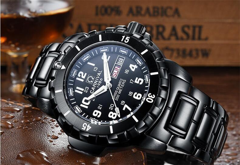 T25 tritium reloj de buceo luminoso hombres marca de lujo Suiza carnaval relojes de cuarzo hombres reloj de acero Correa impermeable 200m-in Relojes deportivos from Relojes de pulsera    3