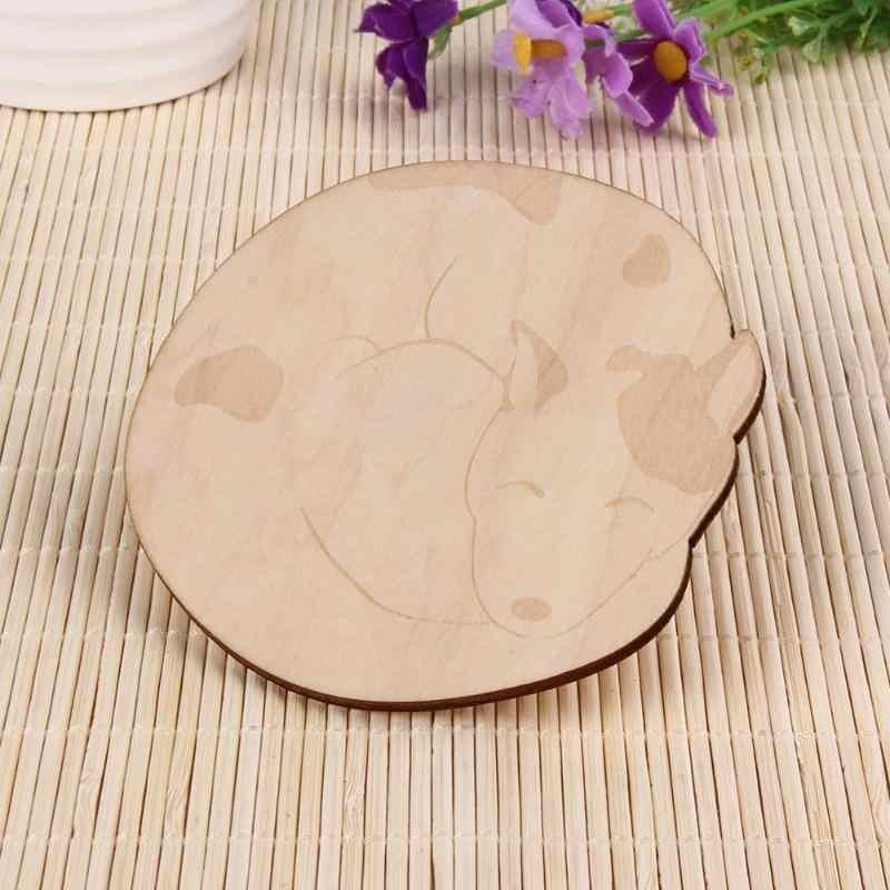 1 pcs שולחן מחצלת חמוד חתול שועל כלב צבי כרית קריקטורה עץ Tablemat Coaster חום מבודד מטבח שולחן מחצלות שולחן מפית D1