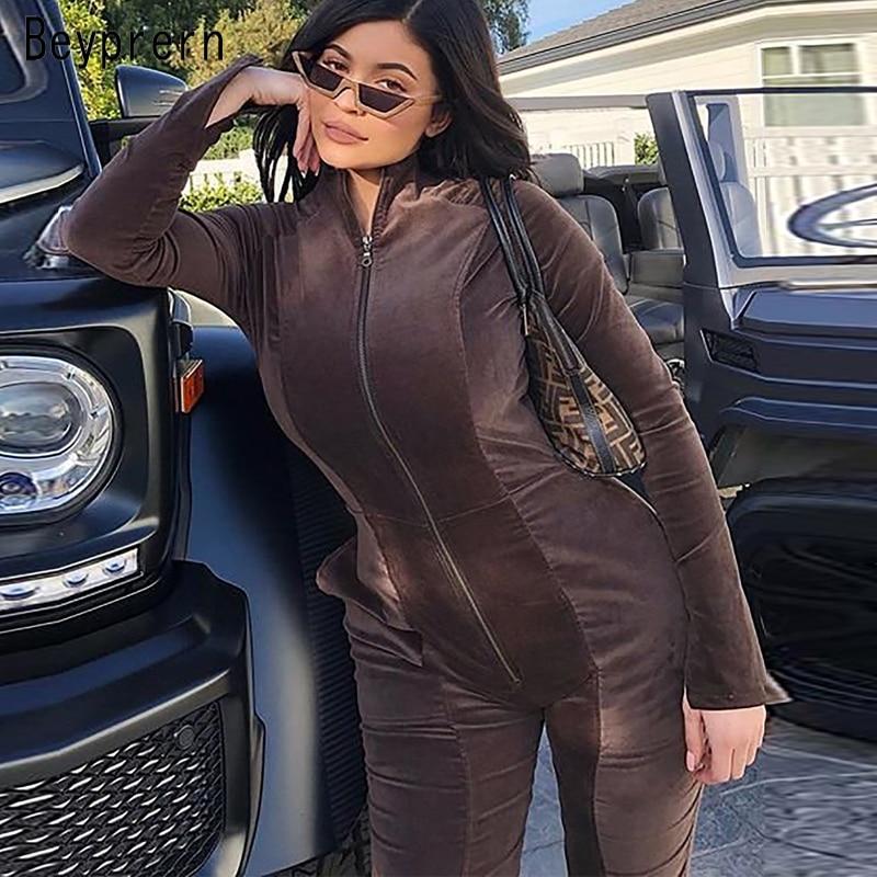Beyprern Kylie Style Chocolate Dream Velvet Jumpsuit New Fashion Mock Neck Front Zipper Skinny Leg Kylie Jenner Velour Jumpsuits Jumpsuits     - title=