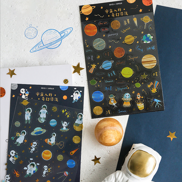 1PC Outer Space Stickers  Decorative Stickers Adhesive Stickers Scrapbooking DIY Decoration For Children School Supplies