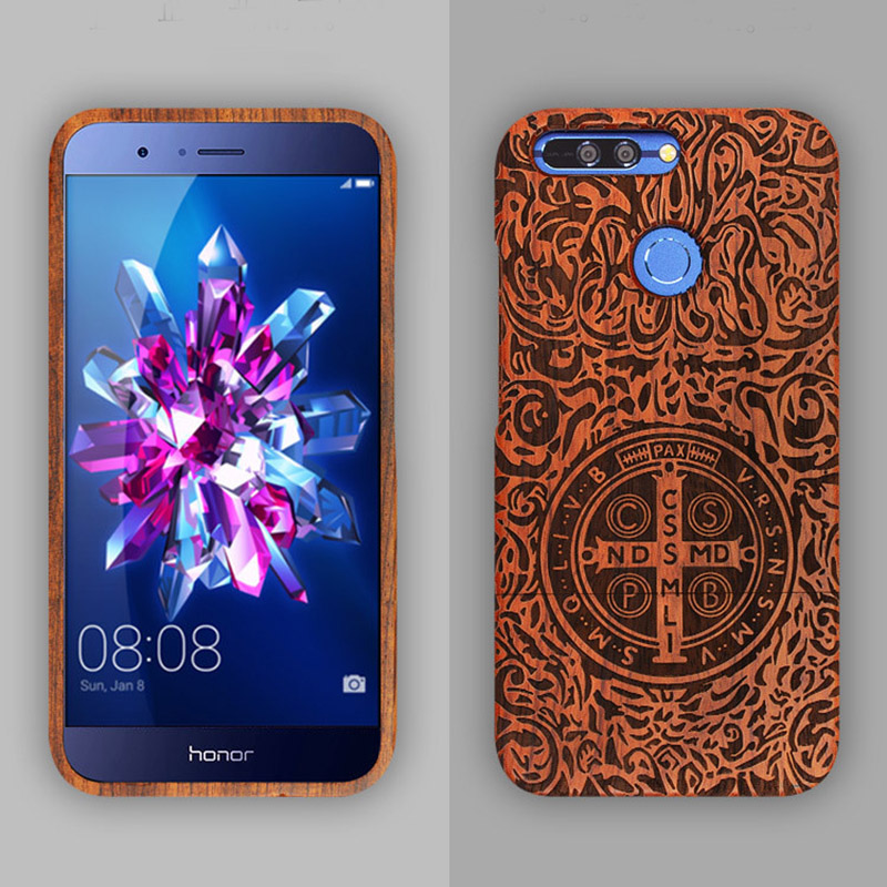 Luxury Customized Huawei Honor 9 Case Wood Natural Real Bamboo Carving Wooden Full Protective Back Cover Hard for Huawei Honor 9