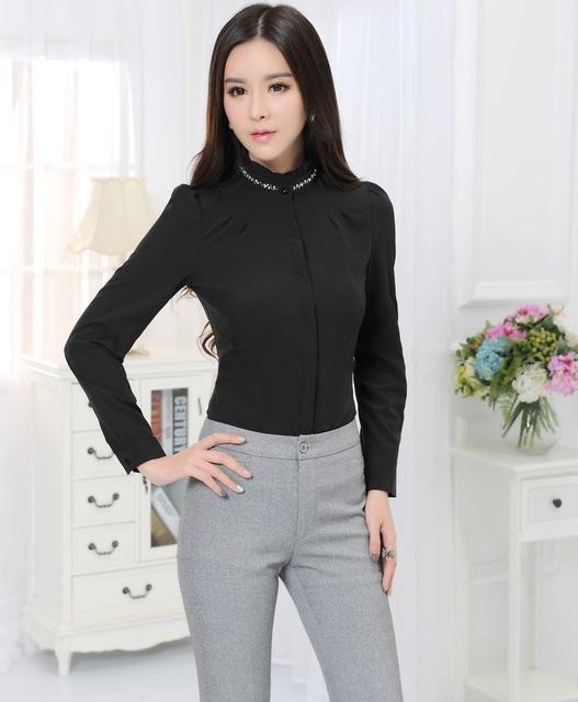 Nuevo estilo uniforme 2015 del otoño del resorte profesional trajes de negocios con blusa y pantalones femenino trajes de negocios pantalones fijados