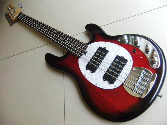 wholesale new arrival musicman 5 string electric bass guitar best sale bass guitar in red 110619. Black Bedroom Furniture Sets. Home Design Ideas