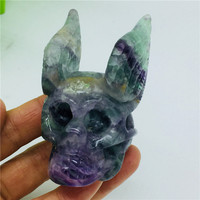 Natural Colorful Fluorite Crystal Skull Hand Carved With Angel Wings Home Decoration Gemstone Collection Reiki Stone