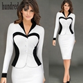 The new long-sleeved career V-neck lotus leaf fake two Slim stretch pack hip pencil dress-dod132