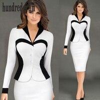 The new long sleeved career V neck lotus leaf fake two Slim stretch pack hip pencil dress dod132