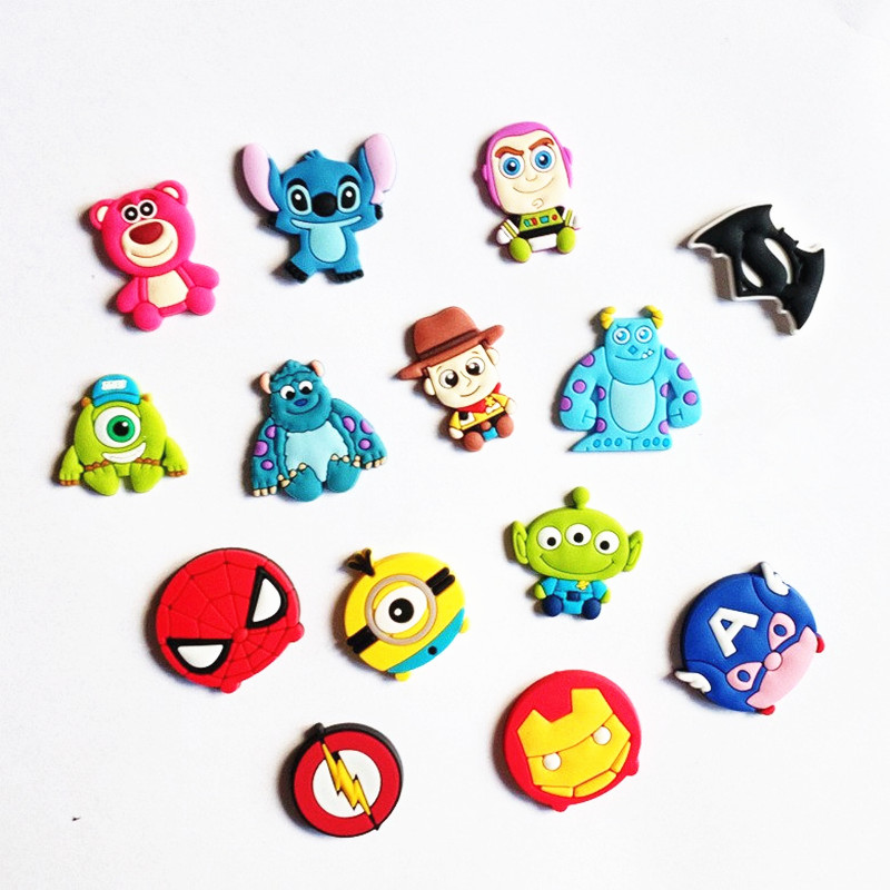 50Pcs/lot Cute Cartoon Monsters Batman Iron Man Decor Accessories