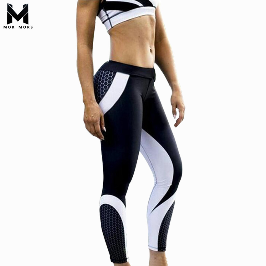2018 Spring Print Geometry Women Sporting   Leggings   High Waist Quick Dry Elastic Pant Workout   Legging   Fitness Trousers For Women