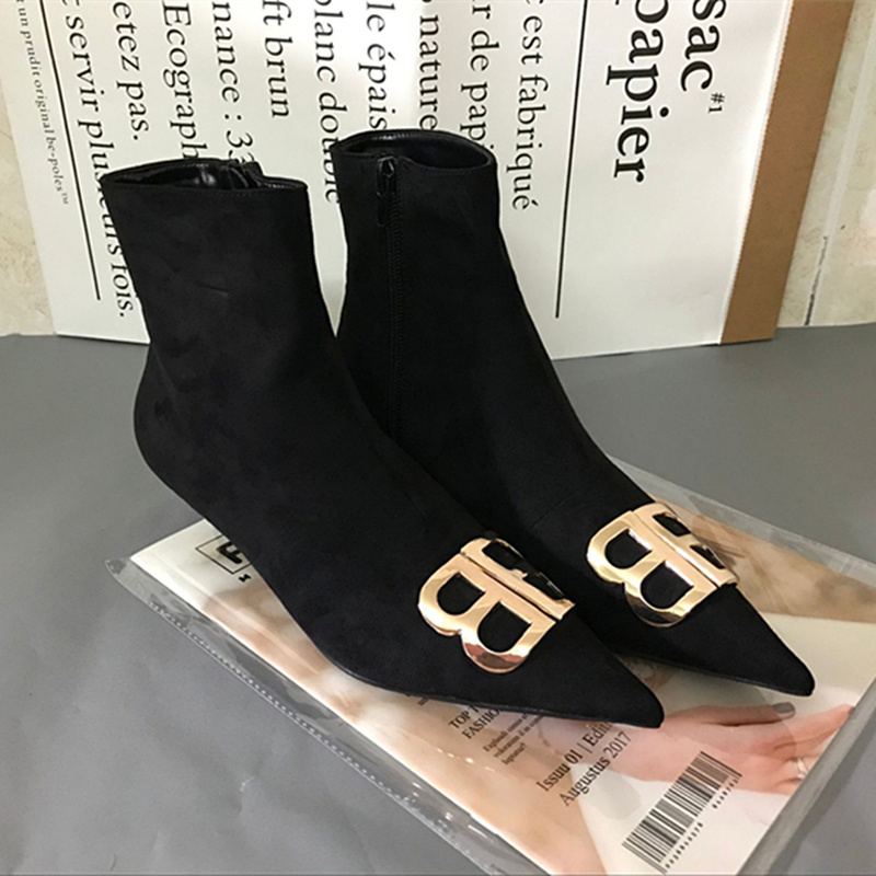 Fashion Design Bb Boots Women Pointed Toe High Heel Boots Women Offce Lady Shoes Autumn Flock Ankle Short Boots Women by Ali Express.Com