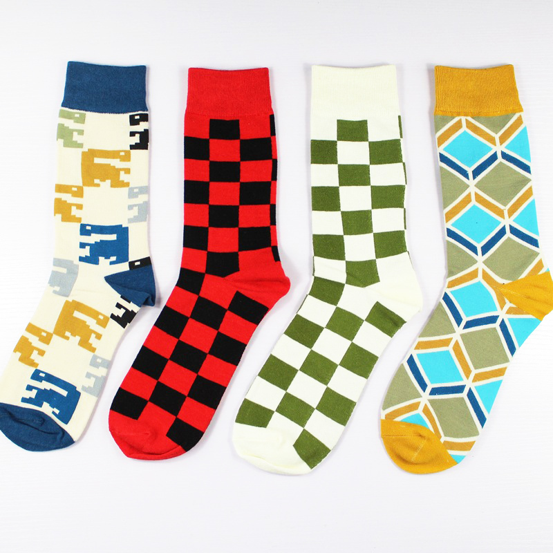 PEONFLY Cotton Jacket Character Corrugated Hose Happy funny Socks men Best Sellers 4pairs/lot meias meia masculina