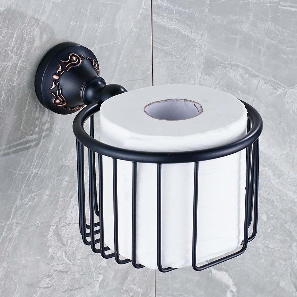 Uythner Free Shipping Bathroom Toilet Paper Holder Carved Wall Mounted Oil Rubbed Bronze Paper Tissue Basket Paper Holder allen roth brinkley handsome oil rubbed bronze metal toothbrush holder