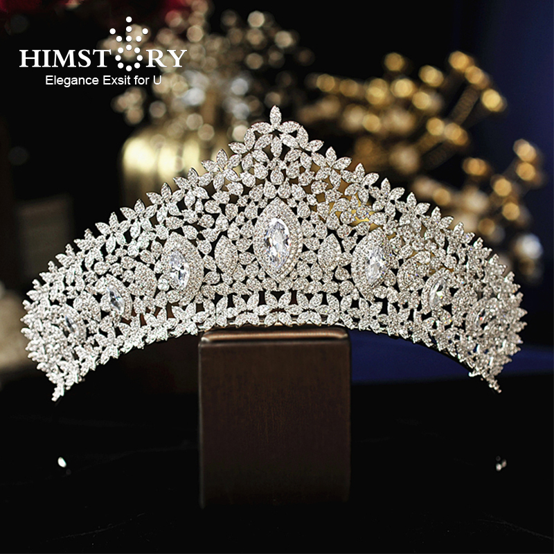 Himstory Luxury Sparkling CZ Flower Bridal Tiaras Crown Hair Accessories Big Diadem Crowns for Women Girls Wedding Party Holiday himstory luxury sparkling cz flower bridal tiaras crown hair accessories big diadem crowns for women girls wedding party holiday