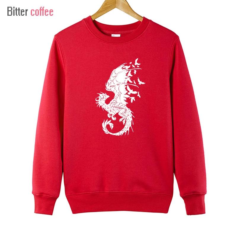 BITTER COFFE Podzim a zima Tisk dračích ptáků Mikiny s kapucí - Pánské oblečení