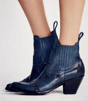 2017 Winter Retro Blue Kitten Heels Ankle Boots Women Star Decor Streamline Designer Slip On Cowboy