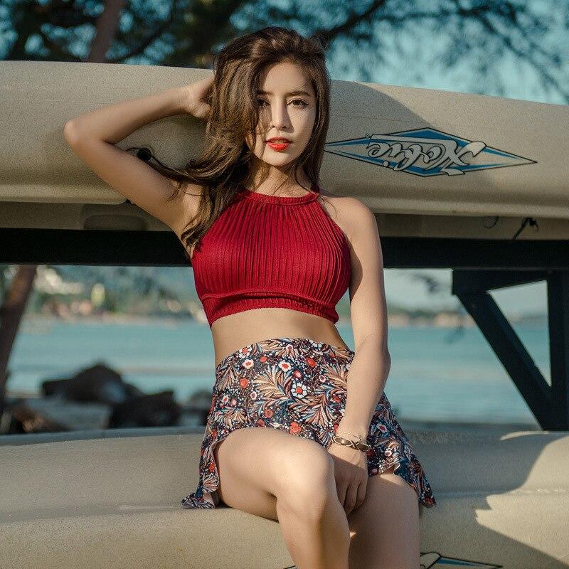 Swimsuits Bikini Swimwear For Women Swim Wear Tankini Swimsuit Girls Bikinis New Sexy Underwire Tower Skirt Three Piece Korean