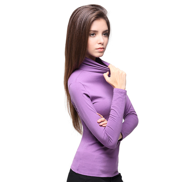 2016 New Autumn Winter High Collar Bottoming Shirt Wild Slim Was Thin Large Size Women Solid Color Cotton Long-sleeved T-shirt