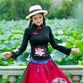 Новый Повседневная Женщины Футболки Большой Размер Этнической Длинным Рукавом Шею Известный Дизайнер Ретро Основные Топы Одежда
