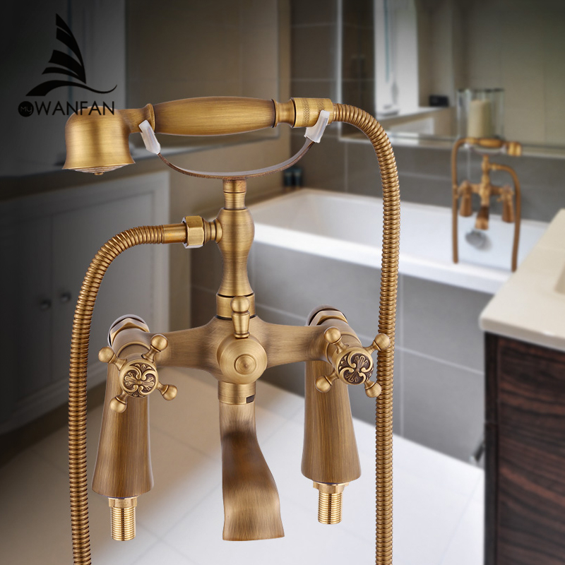 Bathtub Faucets Antique Brass Material Bathroom Shower Set Bathtub Mounted Mixer Tap Bathroom Faucet Dual Holder Crane HJ-6053  luxury bathroom rain shower faucet set antique brass handheld shower head two ceramics lever bathtub mixer tap ars003