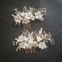 цены на SLBRIDAL Handmade Crystal Rhinestones Freshwater Pearls Ceramic Flower Wedding Hair Comb Bridal Hair Accessories Women Jewelry  в интернет-магазинах
