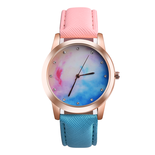 Retro Rainbow Women Watches Men Strap Analog Alloy Quartz Wrist Watch Leather Ba