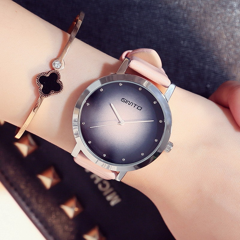 GIMTO Simple Women Watches Unique Simple Design Stylish Gradient Pattern Quartz Casual Watch for Woman Rhinestone Girl's Gift hot steampunk fire fighter pocket watch fireman retro design quartz watches gift for man woman