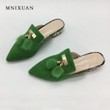 MNIXUAN Women's flat mules shoes pointed toe genuine leather lady slippers 2018 new spring summer fur pearls sandals big size 10