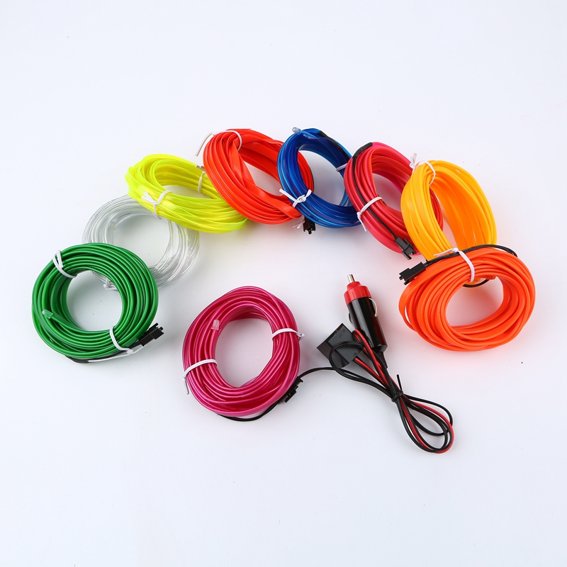1m/3m/5m 12V Sewable EL Wire flexible Glow LED Neon Sew Tagled Light Strip tape Tube + 12V Car Cigarette inverter driver 1m/3m/5m 12V Sewable EL Wire flexible Glow LED Neon Sew Tagled Light Strip tape Tube + 12V Car Cigarette inverter driver