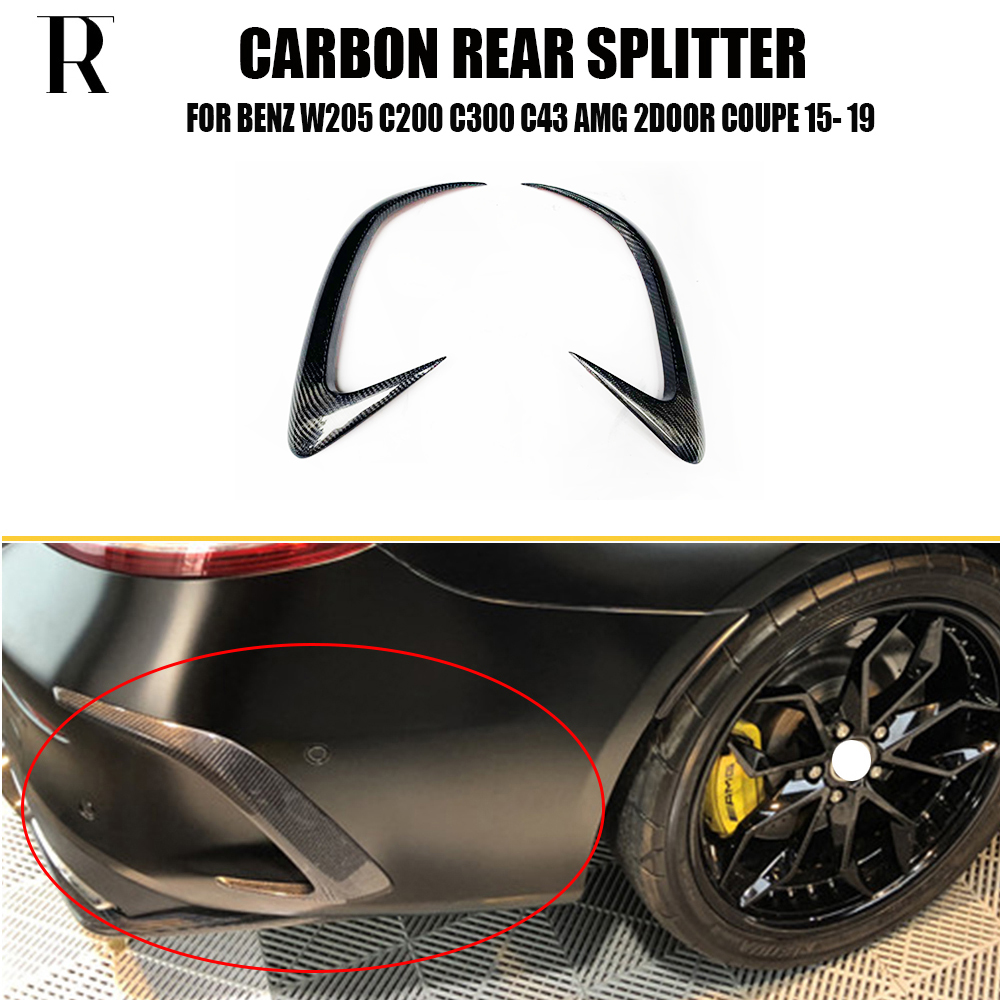c63 Carbon Fiber Rear Bumper Side Splitter Canards Apron for Benz C205 2Door Coupe C200 C220 <font><b>C300</b></font> C43 C63 C63s 2015 - 2022 image