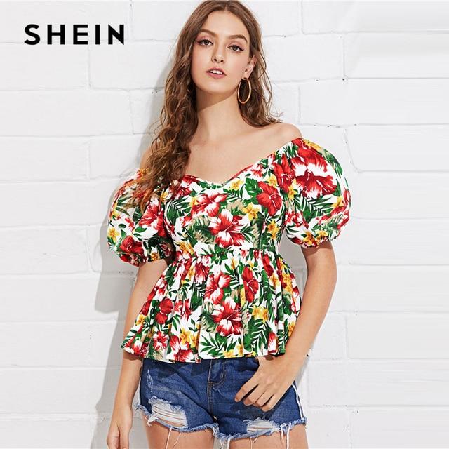 40f44fb6d1049c SHEIN Puff Sleeve Tropical Peplum Top Multicolor Floral Print Off Shoulder  Blouse Women Summer Pleated Slim Fit Peplum Blouses