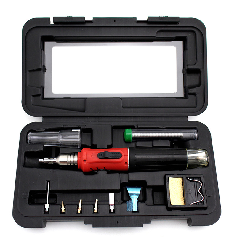 10 in1 Professional Automatic Ignition Butane Gas Soldering Iron Set Welding Kit 10 in 1 kit professional gas soldering iron butane welding gas touch soldering cordless welding tools heat gun hs 1115k