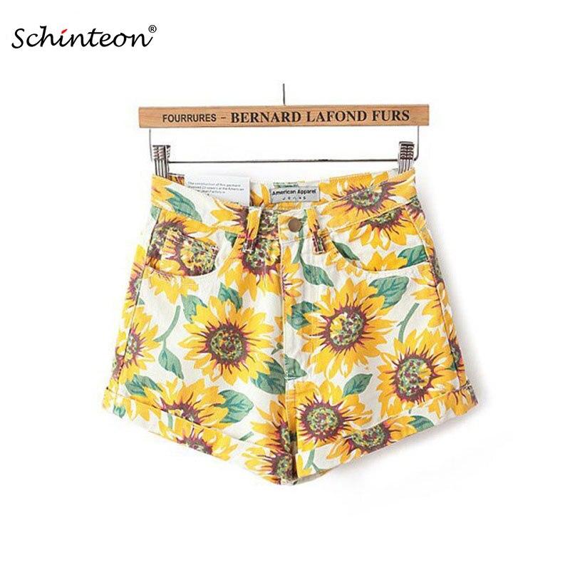 2018 Sommer Frauen Shorts Sunflower Drucken Hohe Taille Vintage Baumwolle Dünne Beiläufige Shorts Hohe Qualität