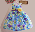 New Fashion Baby Girl Dress with Yellow Bow Girl Flower Dress Princess Party Kids dress For 3-7 years
