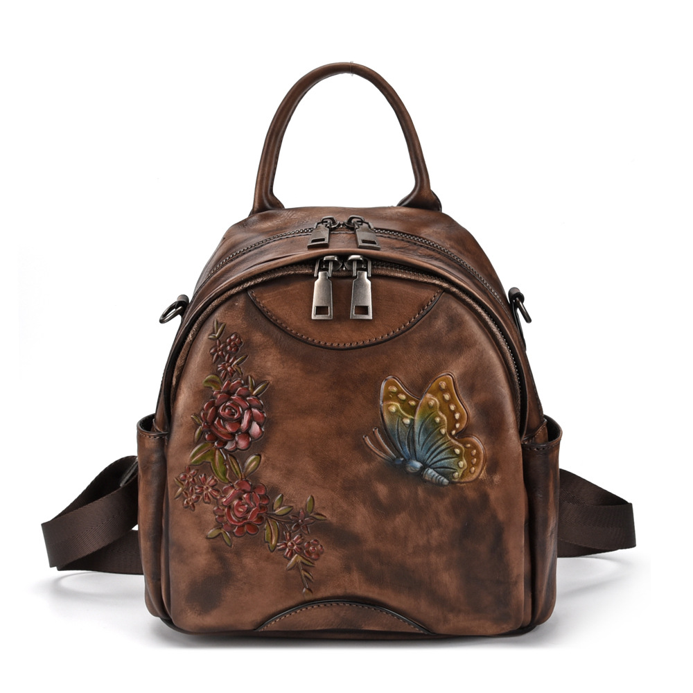 Bagaj ve Çantalar'ten Sırt Çantaları'de Yeni Doğal Deri Kadın Sırt Çantası Sırt çantası Fırçalama Deri Seyahat Çantası Kabartmalı Retro Kız Sırt Çantası Hakiki Deri Sırt Çantası'da  Grup 1