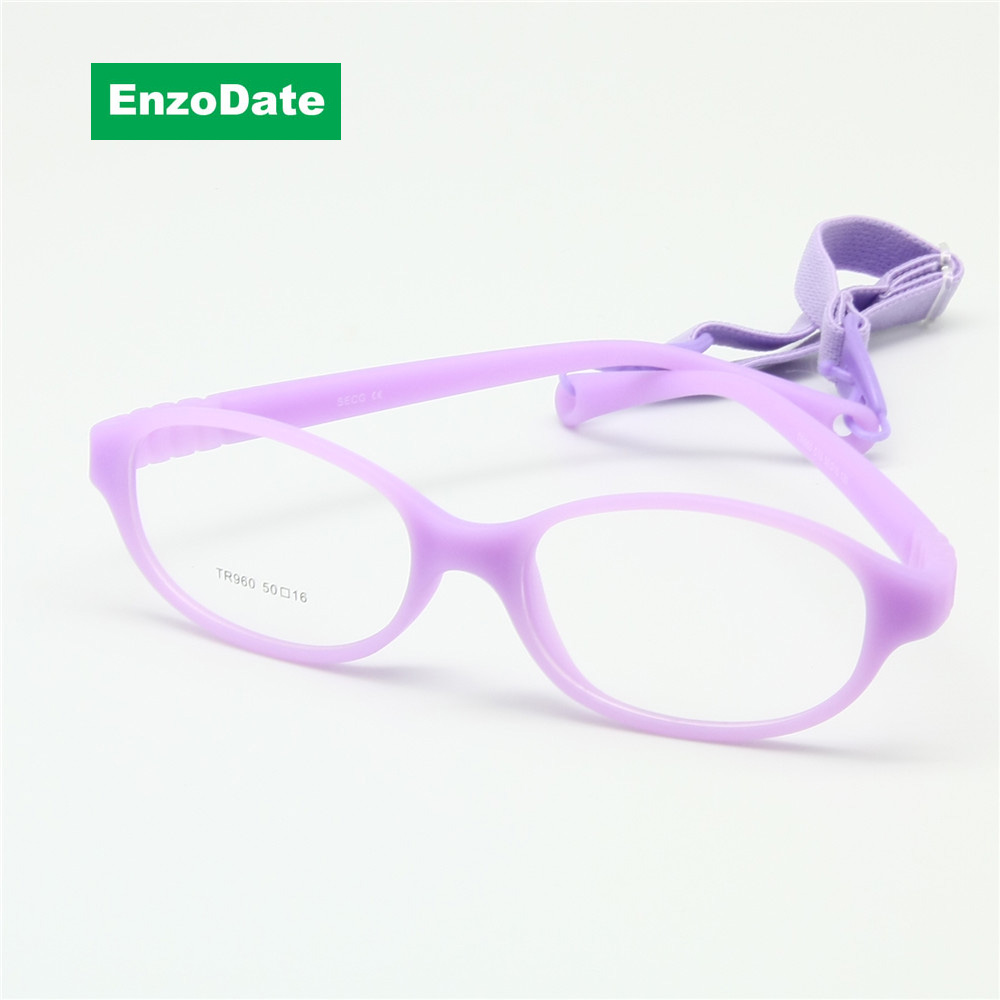 Boy Glasses Frame med Rem Size 50/16 Enstaka No Screw Safe, Bendable Girls Flexibla Glasögon, Optiska Barn Glasögon