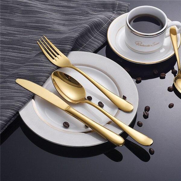 65 مجموعات الذهب سكين السكاكين والسكاكين الذهب الفضة سكين عشاء حزمة الأوروبية نمط الذهب مجموعة أدوات المائدة الفولاذ المقاوم للصدأ والسكاكين-في أطقم أدوات المائدة من المنزل والحديقة على  مجموعة 1