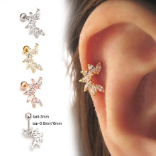 1Pc Cubic Crystal Cz Cartilage Earring Helix Piercing Jewelry Tragus Rook Conch Earlobe Screw Back Stud(China)