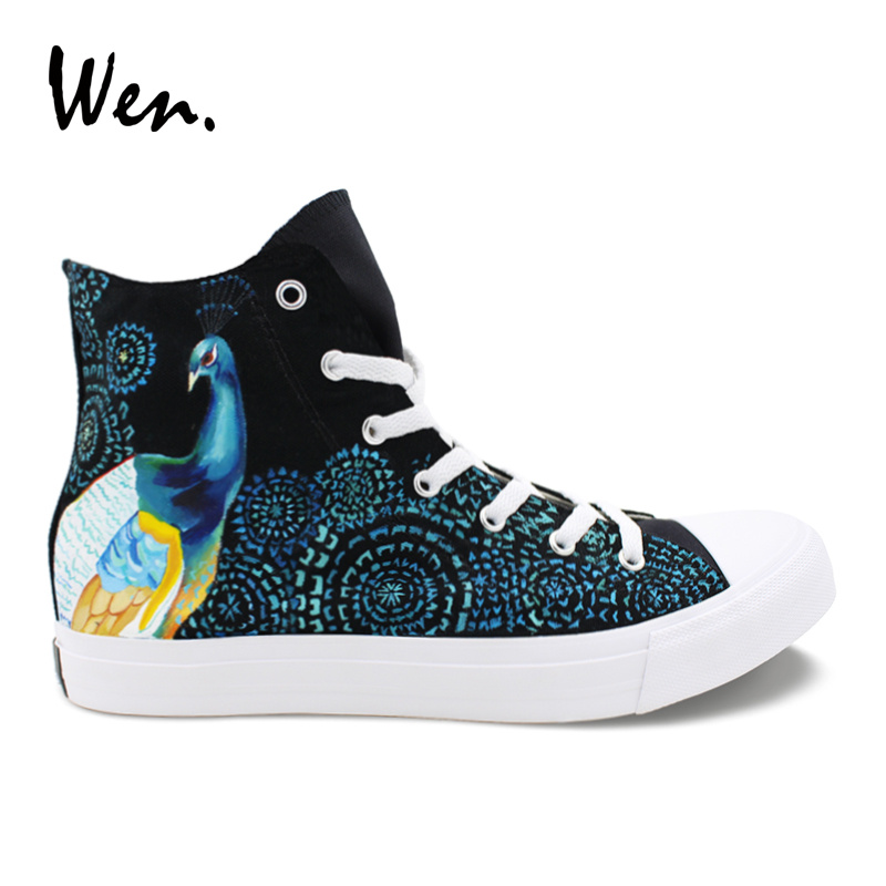 Wen Peacock Feather Hand Painted Shoes Original Design Women Men Vulcanize Shoes Canvas Sneakers High Top Black Espadrilles Flat e lov high end design women shoes hand painted dream graffiti casual canvas flat shoe low top canvas espadrilles
