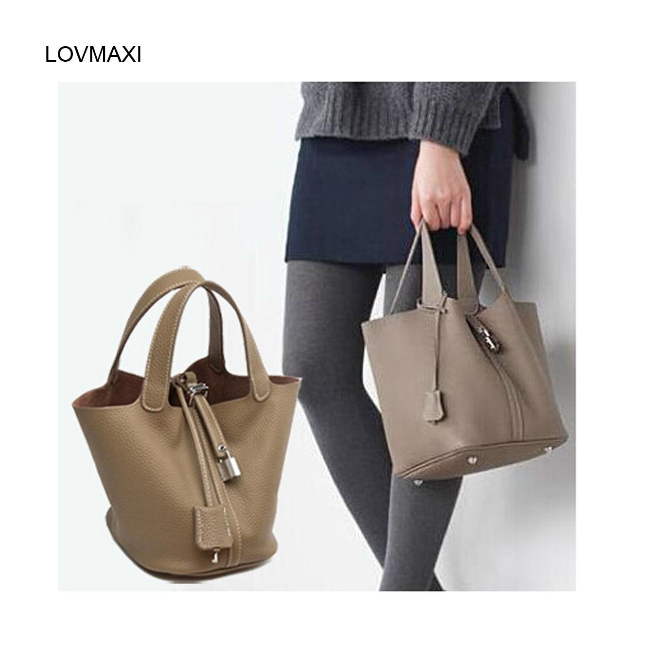 ФОТО Women's bag bucket bag Genuine leather TOTE guaranteed 100% genuine leather bucket bags Brand Designer shoulder handbags