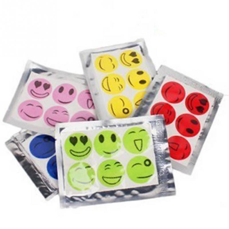 60pcs/lot Smiley Insect Mosquito Repellent Stickers Patches Travel Hiking Camping Anti Mosquito Cartoon Sticker
