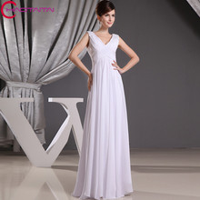 2017 Custom Made Chiffon Cap Sleeve Crystal Bridesmaid Dress Wedding Guest Dresses V-neck Party Gown