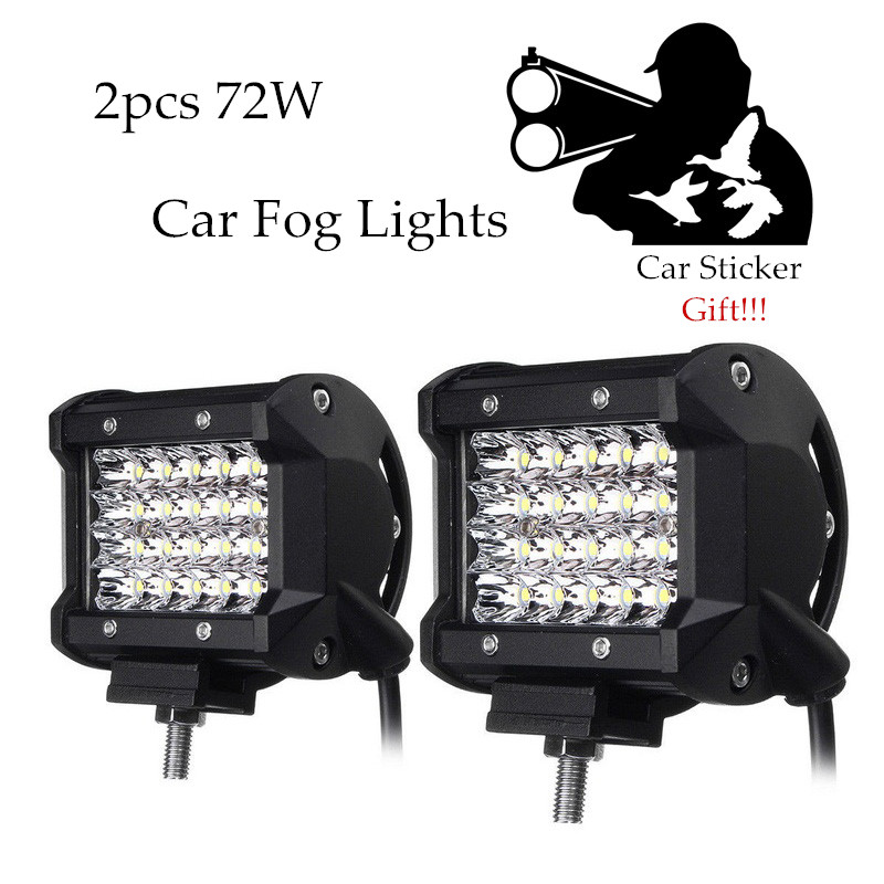 2pcs Foggy Lights 72W Car Fog Lights IP68 Waterproof Auto Back Light LED Driving Work Light