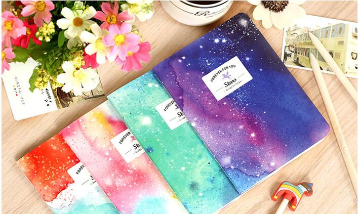 1pcs/lot  105*142MM/ Romatic Color Starry Sky Series  64K Kraft Paper Notebook/journal Diary/Notepad School Office Supplies
