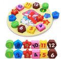 Colorful cartoon digital geometry clock wooden intellect toy puzzle 1pc