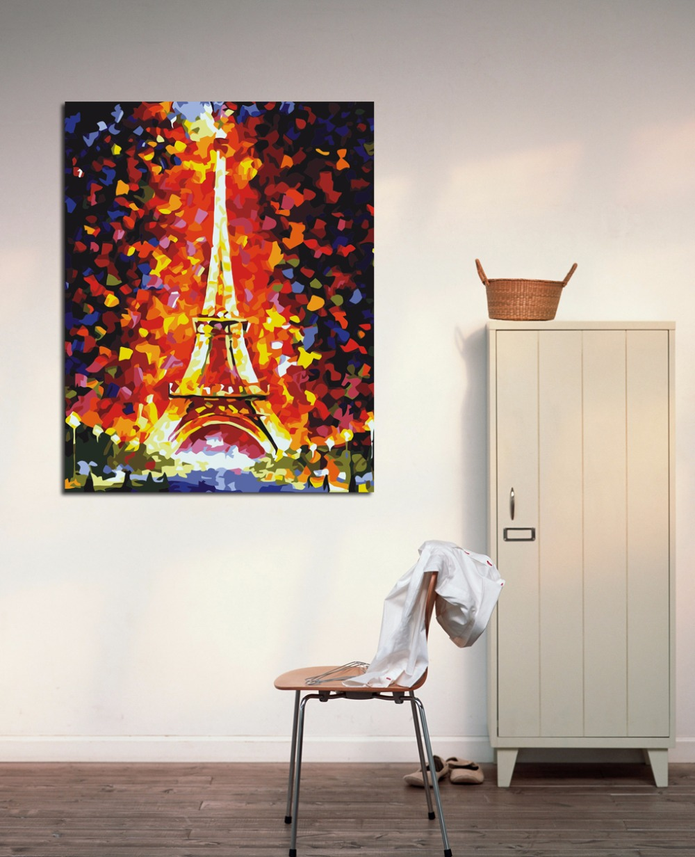 Buy the eiffel tower fire color abstract for Cafe wall mural